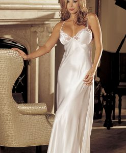 satin candy lingerie ivory satin long nightgown