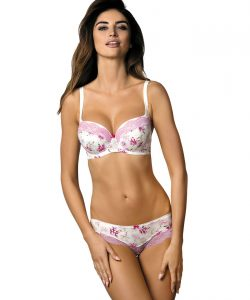 satin candy jolie padded bra and panty set floral and pink lace lingerie