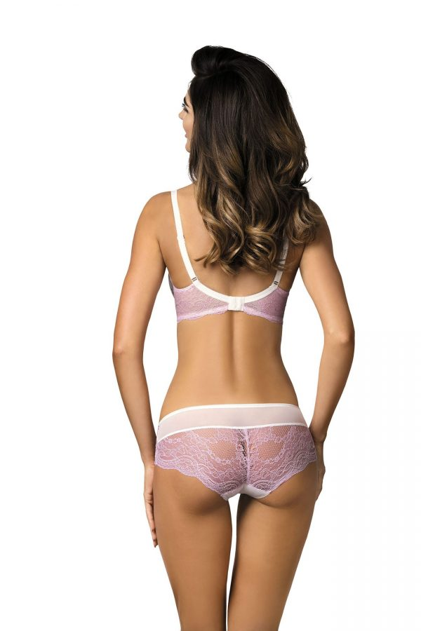 satin candy jolie pink and white lace panties