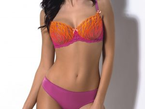 satin candy tequila sunrise bra and panty set bright pink orange lingerie